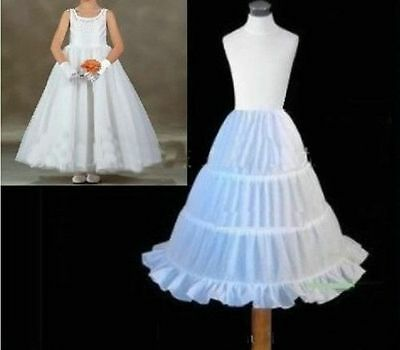 New 3 HOOPS flower girl skirt party wedding petticoat slips underskirt crinoline