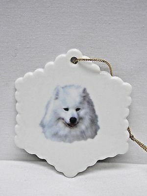 Samoyed Dog Snowflake Christmas Tree Ornament Fired Head Decal-H