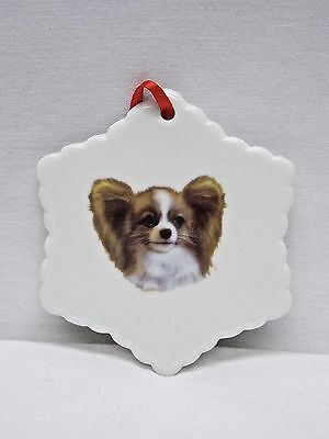 Papillon Dog Snowflake Christmas Tree Ornament Fired Head Decal-H