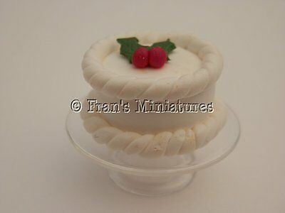 Dolls house food: Christmas cake on a glass cake stand -By Fran