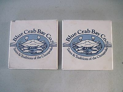 """Two Blue Crab  Bay Co. 3 1/2"""" sq. Porcelain Tiles, Shabby Around Edges"""