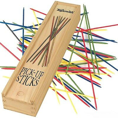Toysmith Pick-Up Sticks Classic Game Wooden Storage Box