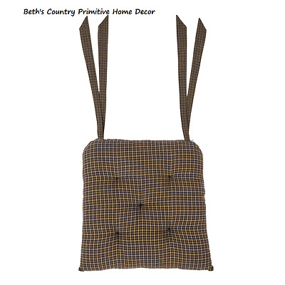 Vhc Brands Country Primitive Padded Chair Pad/seat Cover ~ Kettle Grove Plaid