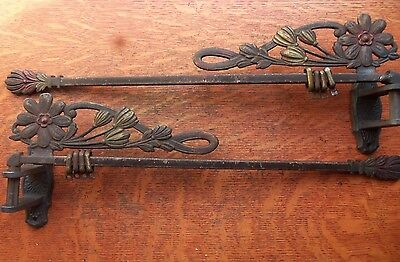 Two Antique Victorian Deco Floral Ornate Swinging Curtain Rods c1910