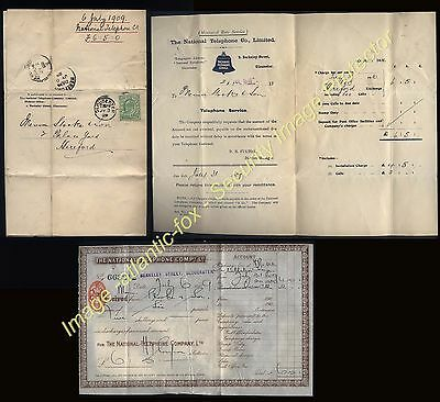 1909 GLOUCESTER POSTED TELEPHONE Account + Revenue impressed Receipt.