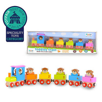 Wooden Teddies Train - Engine & 5 Carriages - Learn to Count & Match