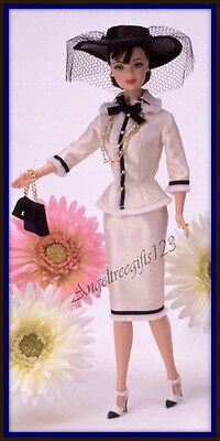 White with navy trim designer silk look suit fits Barbie silkstone model muse