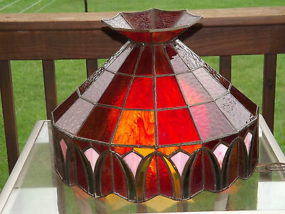 Vintage Slag Stained Glass Hanging Ceiling Light Fixture Amberina Tiffany Style