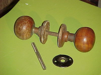 RARE Antique Circa 1900 WOODEN DOOR KNOB SET with WOODEN ROSES, SHANK & Extras