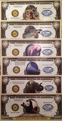 Million Dollar Endangered Species Novelty Notes Lot Of (6) Different See Photos