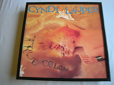 CYNDI LAUPER True Colors LP cover framed for wall mounting black/silver/walnut