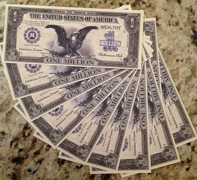 Million Dollar Novelty Banknotes Lot Of (10) Great Gift Buy From A Usa Seller !!