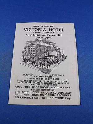 Victoria Hotel Quebec Canada Advertising Card Distance Miles Entirely Fireproof