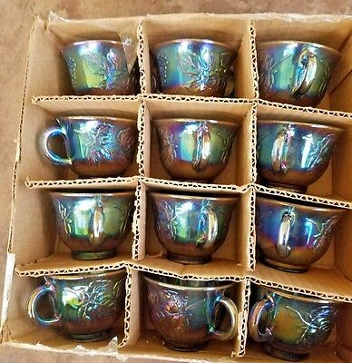 Set 12 Indiana Carnival Blue Harvest Princess Grape Punch Coffee Cups in Box