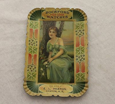 Rockford High Grade Watches Antique Advertising Tip Tray