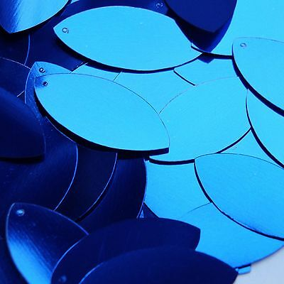 "Royal Blue Shiny Metallic Navette Leaf 1.5"" Couture Sequin Paillettes"
