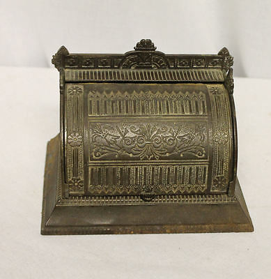 Antique Cast Iron Double Holder Ink Well in Roll Top Display Holder