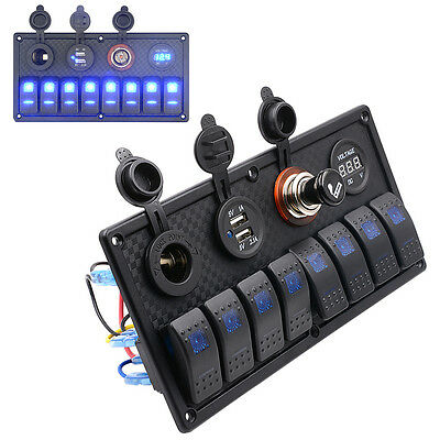 8Gang rocker switch Panel+ Digital Voltmeter+Double USB Power Charger Adapter