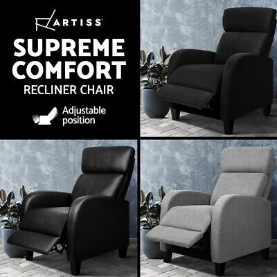 Artiss Luxury Sofa Recliner Chair Lounge Armchair Couch Padded Fabric PU Leather
