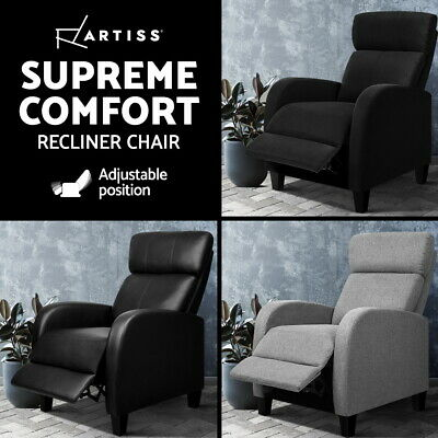 Luxury Sofa Recliner Chair Lounge Armchair Couch Padded Fabric PU Leather
