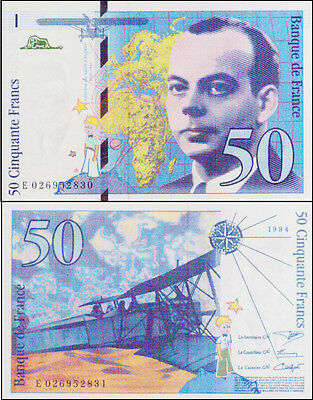 France Scarce Mint 50 Francs 1994 Last Paper Banknote variety Issue p157Aa