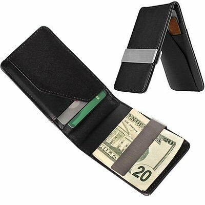 Silver Stainless Steel Men Mini Credit Card Coin Holder Multifunction Money Clip