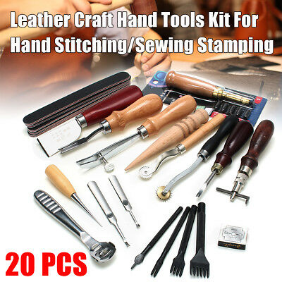20 Leather Craft Punch Tools Kit Stitching Carving Working Sewing Saddle Groover