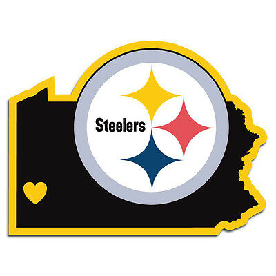 pittsburgh steelers nfl state shape logo with heart vinyl decal