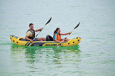 New Intex 68307 Intex Explorer K2 Kayak Canoe River Lake Boat Oars Inflatable