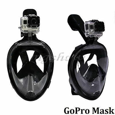 L/XL UK Breath Full Face Mask Surface Diving Snorkel Scuba for GoPro Swim Tools