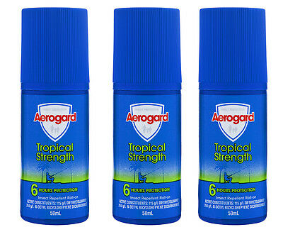 3 x Aerogard Tropical Strength Insect Repellent Roll On 50mL