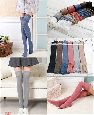 caaa9dafb41 Thigh Stockings High Socks Pantyhose Tights Women Knitting Lace Cotton Over  Knee