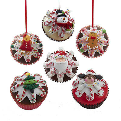 Cupcake Christmas Ornaments Set 6 candy claydough ka d2277 NEW Shelley B