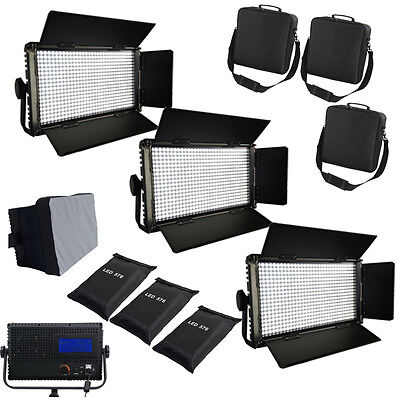 3xLED576AL LED-Studio-Panel Licht LCD Touch Screen dimmbare Softbox Taschen Qual