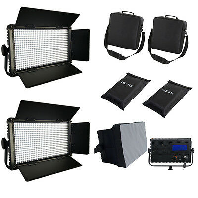 2xLED576AL LED-Studio-Panel Licht LCD Touch Screen dimmbare Softbox Taschen Qual