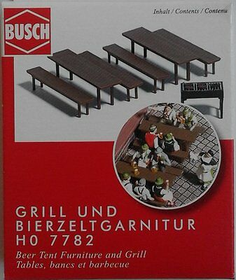BUSCH 7782 Beer Tent Furniture & Grill 00/HO Model Railway Accessories