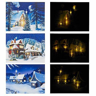 Christmas Light Up LED Canvas Snow Scene Wall Decoration Holiday Prints Xmas Art