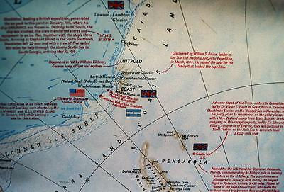 The National Geographic Society Map Of Antarctica September 1957 Vintage