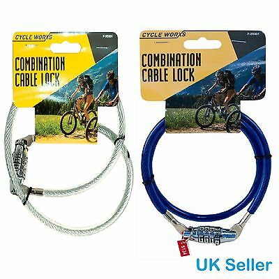 BIKE BICYCLE CYCLE SECURITY 4DIGIT COMBINATION LOCK 70cm x 8mm SPIRAL CABLE