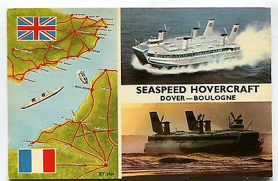 Dover-Boulogne Seaspeed Hovercraft - c1970's multiview postcard