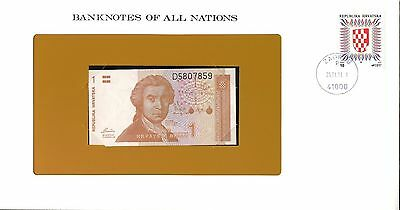 "Croatia ~ 1991 ~ 1 Dinar Note ~ Cu ~ ""banknotes Of All Nations"""