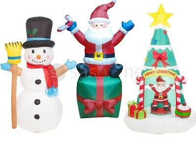 4/6Ft Giant Inflatable Christmas Tree Decoration W Disco Light Santa Xmas Garden