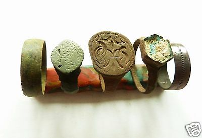 Set of 5  Medieval Bronze Rings (k145)