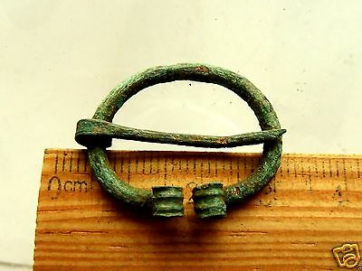 Authentic Ancient  MEDIEVAL ARTIFACT -  Bronze Fibula (k243)