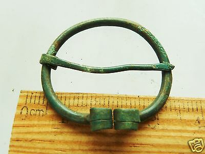 Authentic Ancient  MEDIEVAL ARTIFACT -  Bronze Fibula (k242)