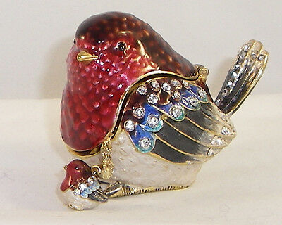 Kingspoint Robin Red Breast  Pewter Bejeweled Hinged Trinket / Jewelry  Box