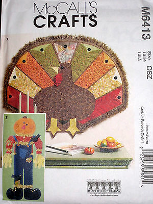 McCalls Thanksgiving Fall Quilted Turkey Scarecrow Wall Hanging Pattern 6413 UC