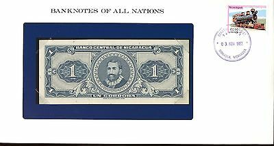 """Nicaragua ~ 1968 ~ 1 Cordoba Note ~ Cu ~ """"banknotes Of All Nations"""""""