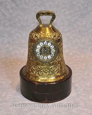 Antique French Brass Bell Clock Chiming Clocks 19th Century