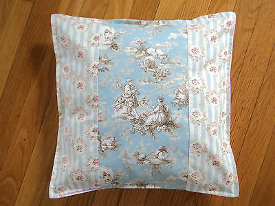 "Duck Egg Blue Toile Pink Rose Pillow Cover French Country - fits 16"" x 16"""
